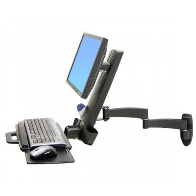 Estación de trabajo ajustable de pared monitor teclado mouse