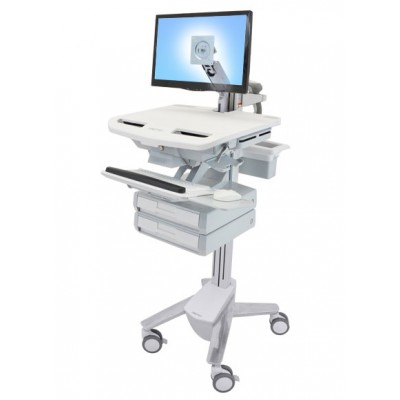 Carro medico   StyleView brazo para pantalla LCD y 2 cajones