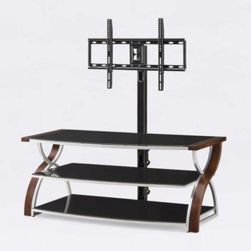 Soporte para tv de madera cristal metal repisas metal for Mueble con soporte para tv