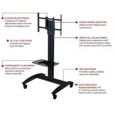 Pedestal con ruedas de piso para pantallas tv 32 a 75 pulgadas Peer