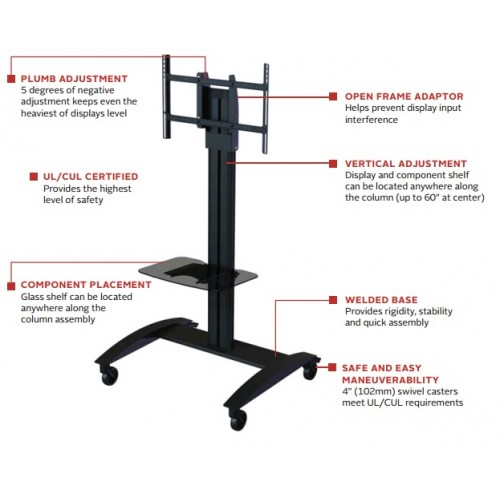 Soporte para pantalla de piso o pedestal con ruedas mejor