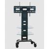 Soporte de piso Tipo Carro PEDESTAL de pantalla Tipo Carro  Diseño y movilidad ideal para oficinas  Con ruedas y triple base multifunción de cristal templado  Modelo GENT1-ST09  Para pantallas y Monitores de 37