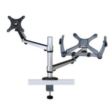 """Abrazadera doble para escritorio de movimiento completo para monitores de 13"""" a 27"""" y laptops de hasta 15"""" DDR1327NBMSC"""