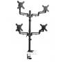 "Soporte cuádruple de escritorio de brazo flexible de movimiento completo para monitores de 13"" a 27"" DDR1327SQFC"