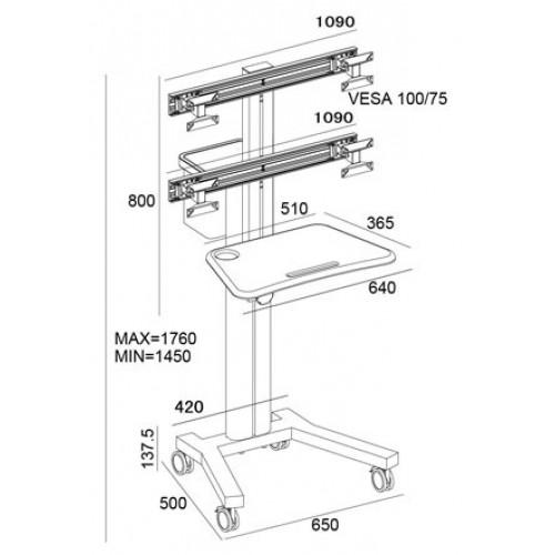 Carrito movil para 4 pantallas de monitores metalico