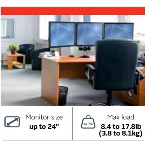 "Soporte para 3 monitores en linea escritorio/mesa 24"""