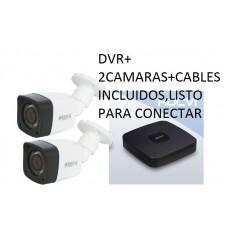 Kit DVR+2 camaras vigilancia 1 Megapixel - mejor precio 2017